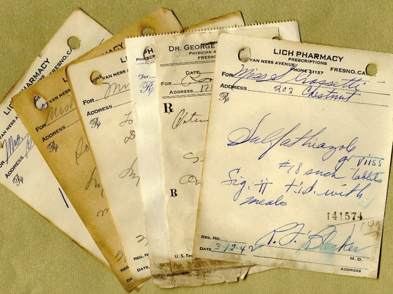 Antique Handwritten Pharmacy Prescriptions for Collage, Paper Arts,  Mixed Media & MORE
