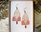 lace earrings -REINI-  (coral)