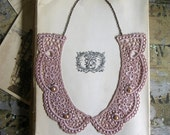 lace collar necklace -DANAE- bridal- wedding- (taupe pink)