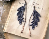 lace earrings - ELSA- grey