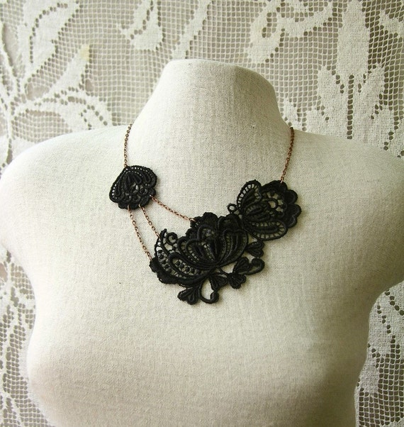 esme lace necklace (black)