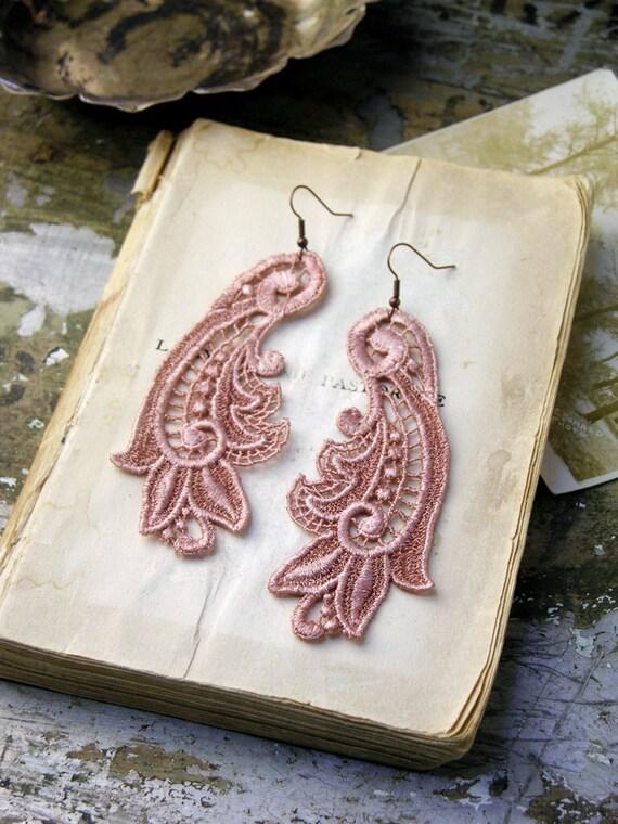 lace earrings -CALLISTA- long earrings - blush pink
