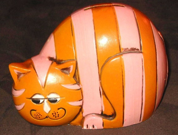 Vintage MOD 60s Plaster Painted Pink and Orange Striped Cat Bank