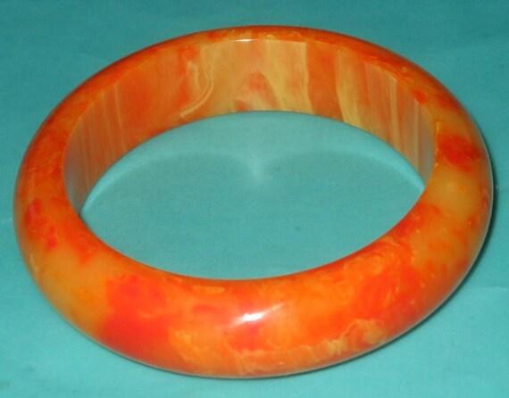 Reserved for epb4me....Vintage Chunky Tangerine Orange Marbled Bakelite Bangle Bracelet