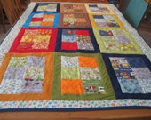 Large I Spy Ten Little Things Baby or Toddler Quilt with small pillow and pillow case