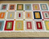 Modern Building Block Quilt and matching pillow case you choose the fabrics in Four Sizes