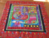 Quilted Holiday Treasures Wall Hanging or Table Topper with Laurel Burch Fabrics