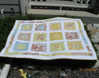 Modern SF Window Box Lap or Baby Quilt in Kate Spain Fabric designed by Sweet Jane