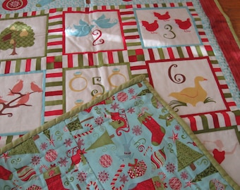 Modern 12 Days of Christmas Quilted Wall Hanging
