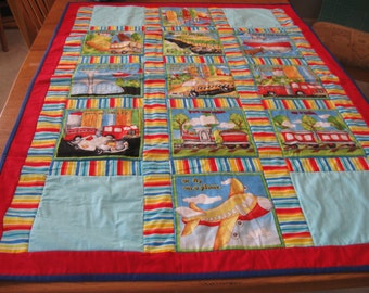 Huge How Do We Get There Quilt for Boy Baby or Toddler with small pillow and pillow case
