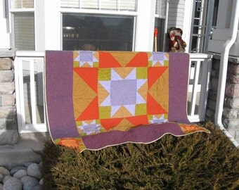 Modern Amish Star Throw or Wall Hanging with Kaffe Fassett's Shot Cottons