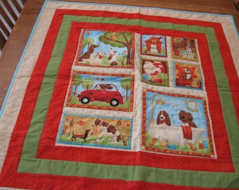 Large Wall Hanging or Quilt for toddler boy or girl with dogs