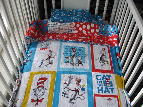 Cat in the Hat Toddler Quilt, Pillow, and Pillow Case With or Without Board Book