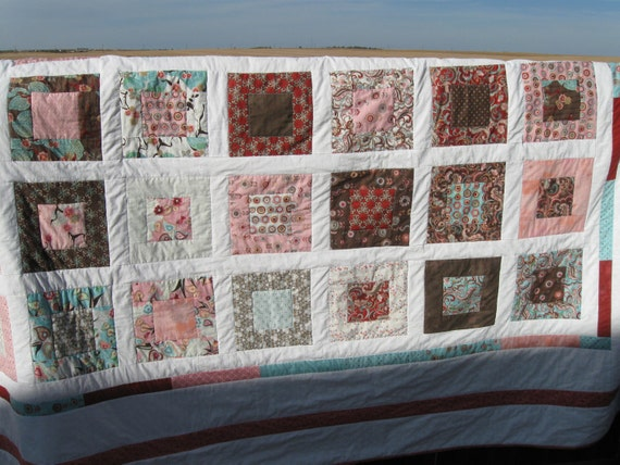 Window Box Quilt and pillow case you choose the fabrics and