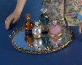Barbie Sized Perfume Bottles and Mirror Vanity Tray Set 3