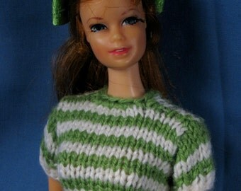 Barbie Doll Clothes - Green Dots and Stripes Mod Set