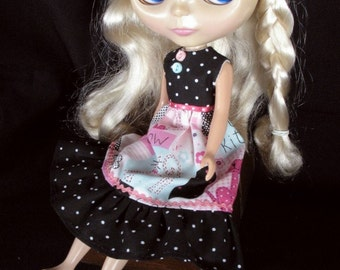 Black Dotted Kitty Dress for Blythe