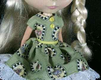 Green Print Dress for Blythe