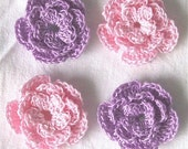 4 Handmade Crochet Roses - Flowers for Scrapbooking\/ Paper Piecing by Lily