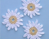 3 Handmade Crochet Flowers Daisies for Scrapbooking\/ Paper Piecing\/ Crafts by Lily