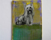 Sale... Silky Terrier Dog ACEO Collage Painting by Susan Best