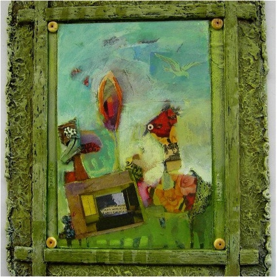SPRING MISCHIEF Original Mixed Media Collage Painting Framed 15 x 21