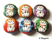 "Lucky Cat Maneki Neko 1"" refrigerator MAGNETS gifts Fortune maneki neko wave fortune cats stocking stuffer party favor shower gift pinbacks"