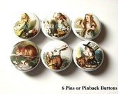Fun Alice in Wonderland PINS BADGES BUTTONS 1 inch Gift pinbacks drink me mad hatter stocking stuffer party favors flair magnets shower gift