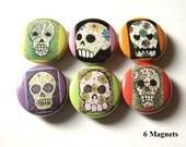 Sugar Skull fridge MAGNETS Dia De Los Muertos Day of the Dead skull halloween skeleton calavera party favor stocking stuffer gift button pin