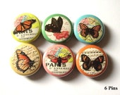 Butterfly PINS PINBACKS BADGES nature maps Set of 6 pinback buttons butterflies badge party favors stocking stuffers shower gifts flair