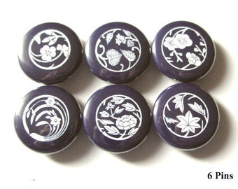 """Indigo Blue Japanese Crests 1"""" PINBACKS PINS badges magnets daffodil peony maple party favors shower gift stocking stuffers buttons magnets"""