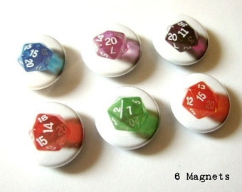 1 inch MAGNETS Geekery Set of 6 d20 dice magnet polyhedral rpg dice geek magnet nerd stocking stuffer party favor shower gifts flair fridge