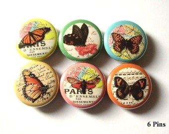 Butterfly Button Pins Badges nature maps Set of 6 pinback buttons butterflies badge party favors stocking stuffers shower gifts flair