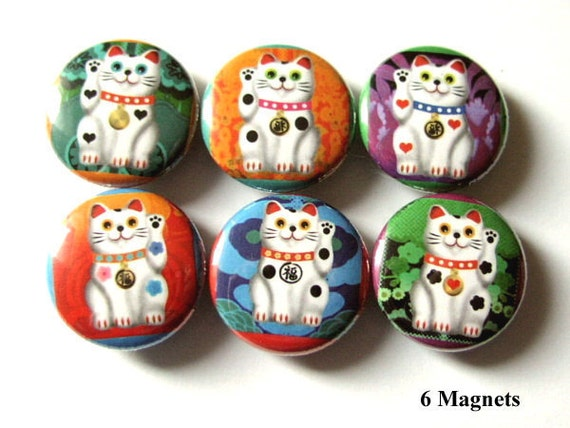 Maneki Neko Fridge Magnets Set 1 inch refrigerator gifts Fortune waving fortune stocking stuffer party favor shower gift housewarming pins