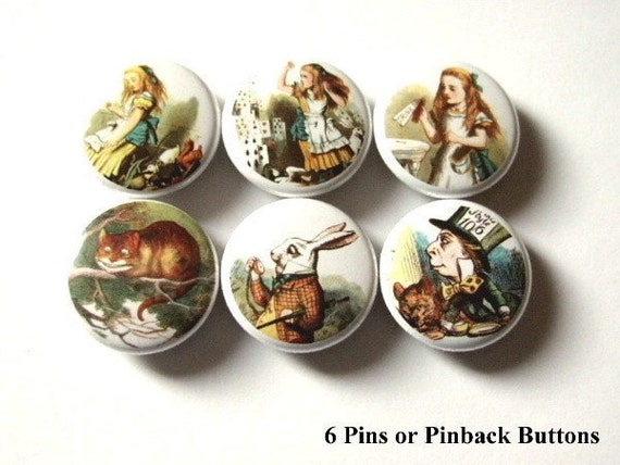 Fun Alice Button Pins Badges pinbacks 1 inch Gift pin backs drink me mad hatter stocking stuffer party favors flair magnets shower gift
