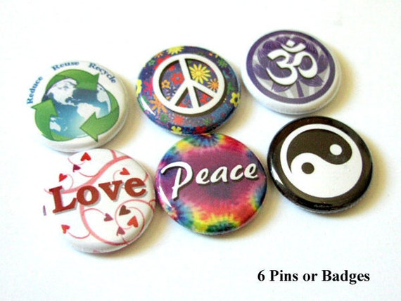 Peace Love Om Yin Yang 1 inch PINBACKS PINS BADGES hippie retro stocking stuffers party favors flair hippy trippy buttons magnets gifts