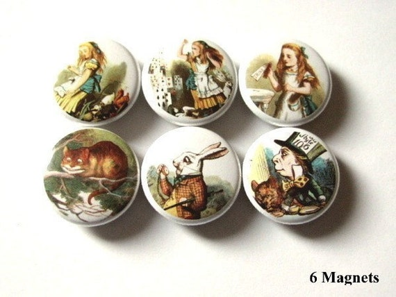 Alice refrigerator MAGNETS 1 inch mad hatter cheshire cat drink me wine charms party favor stocking stuffer shower gifts pins fridge button