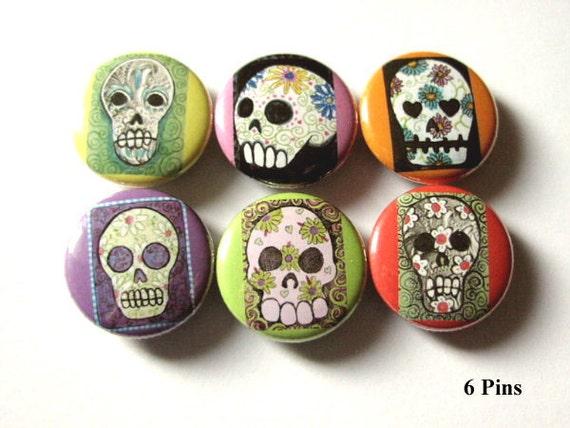 Day of the Dead Button Pins Sugar Skulls Dia De Los Muertos badges folk art wedding shower skeleton calavera party favors gifts magnets goth