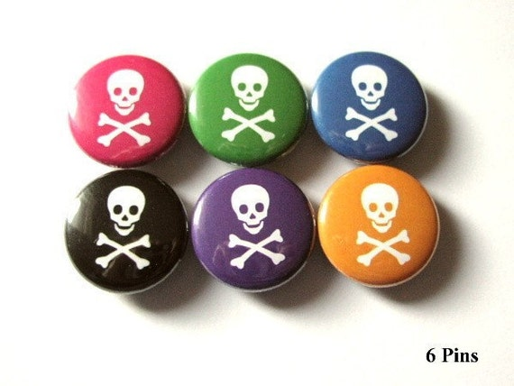Skull and Crossbones pins PINBACK buttons badges pirate pastel goth stocking stuffers party favors flair accessories gifts geekery magnets