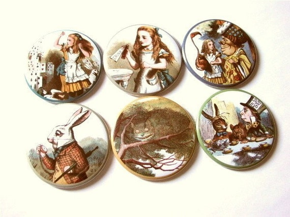 Set of 6 refrigerator MAGNETS Alice's Adventures in Wonderland flair party favors stocking stuffers gifts fridge drink me mad hatter shower