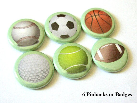 Sports Balls Coach Gifts Button Pin backs pinbacks Father's Day soccer basketball golf football tennis party favors stocking stuffers magnet