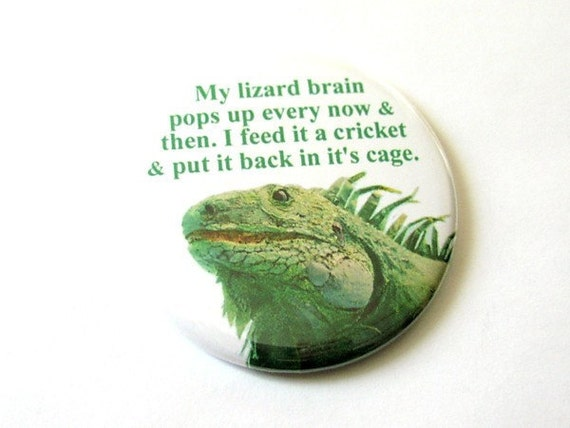 Lizard Brain Hand Pocket MIRROR 2.25 inch flair gag gift humor funny novelty geekery stocking stuffer reptile party favors fashion accessory