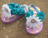 Cupcakes Galore Chenille Strap Toddler Flip Flops 6\/7