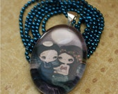 The Sailor And The Mermaid Oval Glass Tile Pendant