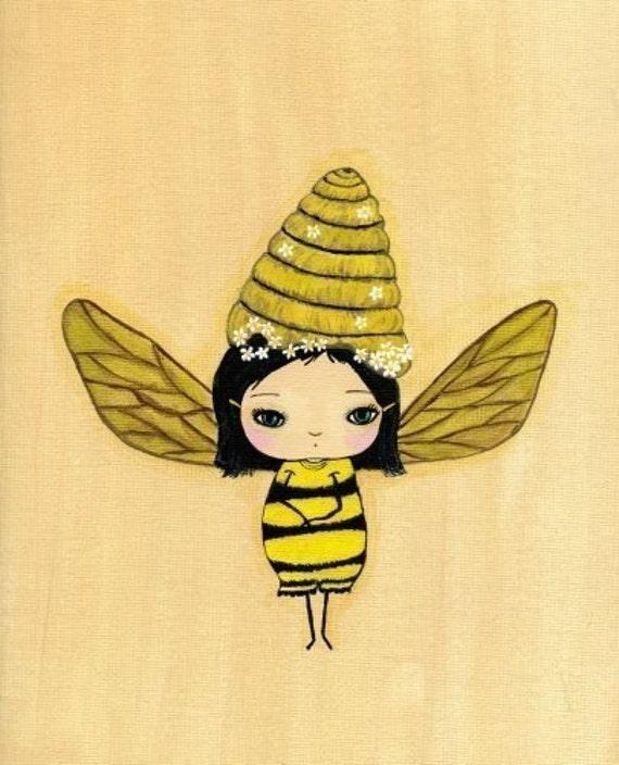 Bumblina Bee Girl print 5 x 7