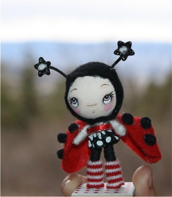 Mini Spring Ladybug Paper Mache OOAK Art Doll