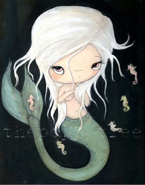 Mermaid Seahorse Painting---The White Mermaid Original Painting 9 x 12