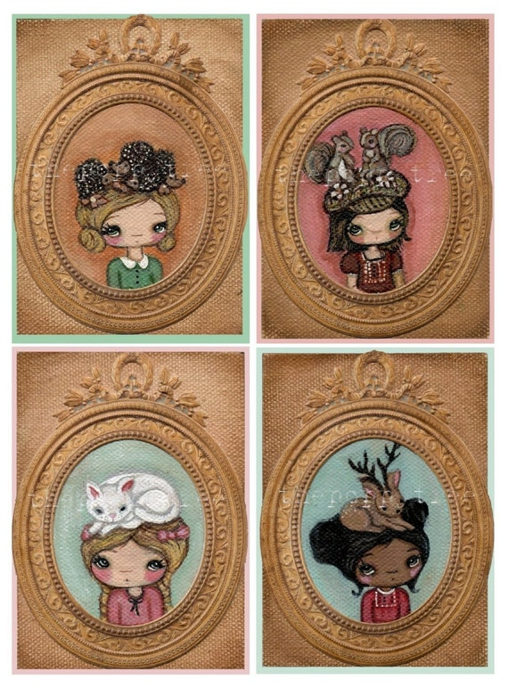 Animal Aceo's---My Fancy Animal Hat ----Series 2---All 4 Matte
