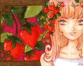 ACEO Strawberry Girl Art Print Red Nature Fruits Pop Anime Cute Illustration -  Limited Edition 2/25