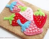 Handstitched Felt Quilt - 5 Strawberries - Original art ACEO